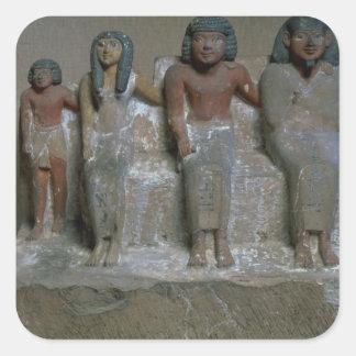 Figurilla de un grupo de la familia (pigmento en colcomanias cuadradas