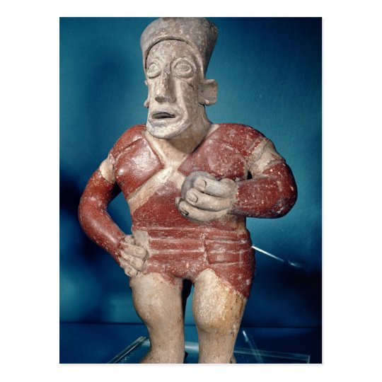 Figurine of a tlachtli player wearing a helmet postcard