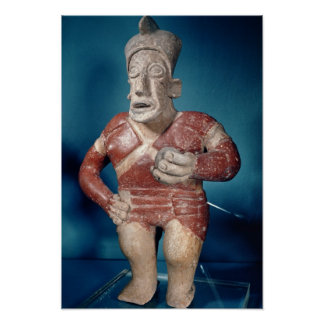 Figurine of a tlachtli player wearing a helmet poster