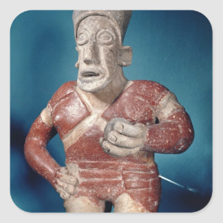 Figurine of a tlachtli player wearing a helmet square sticker