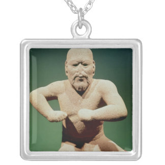 Figurine of a wrestler silver plated necklace