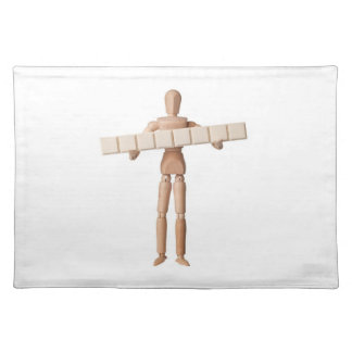 Figurine with eight empty text blocks cloth placemat
