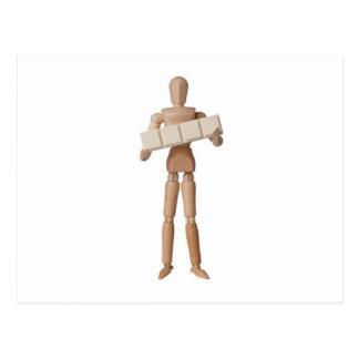 Figurine with four empty text blocks postcard