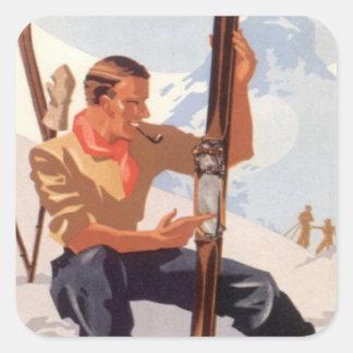 Fijación de los esquís calcomanías cuadradases