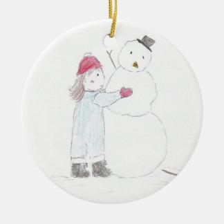 Fijación escarchada adorno navideño redondo de cerámica