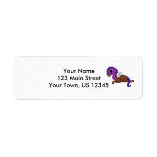 Fijación púrpura y azul de Gryphon del bolsillo de Etiqueta De Remitente