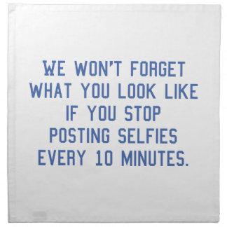 Fijación Selfies cada 10 minutos Servilleta