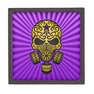 Fije el cráneo apocalíptico el amarillo y la púrp caja de joyas de calidad