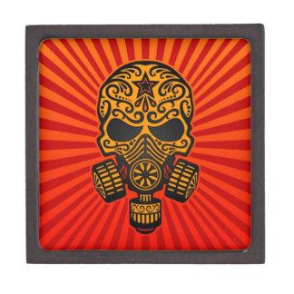 Fije el cráneo apocalíptico el rojo y el amarillo cajas de joyas de calidad
