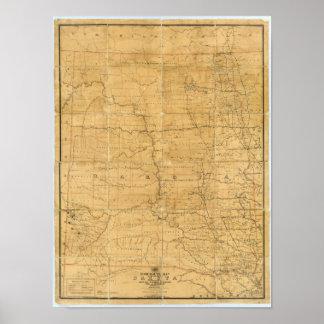 Fije el mapa de ruta del territorio de Dakota Posters