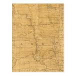 Fije el mapa de ruta del territorio de Dakota Tarjetas Postales