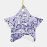 Fije el ornamento del batería adorno navideño de cerámica en forma de estrella