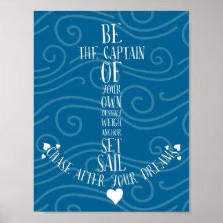 Fije la vela y persiga su ancla náutica de la cita póster