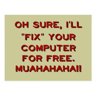 ¿Fije su ordenador gratis? Tarjetas Postales