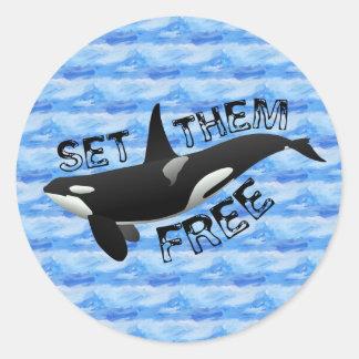 Fíjelos libremente orca pegatina redonda