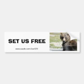 Fíjenos libres, ahorre los osos etiqueta de parachoque