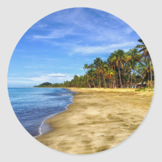 fiji-293826 fiji beach sand palm trees tropics sky classic round sticker