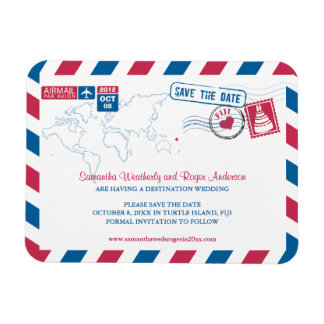 Fiji Air Mail Wedding Save the Date 3x4 Vinyl Magnets