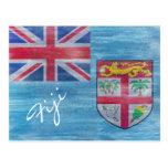 Fiji apenó la bandera postales