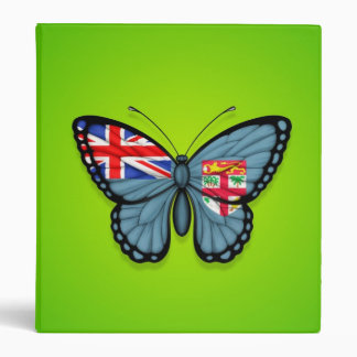 Fiji Butterfly Flag on Green Vinyl Binder