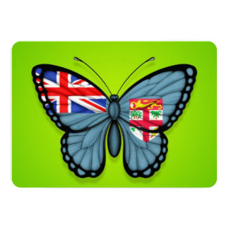 Fiji Butterfly Flag on Green 5x7 Paper Invitation Card