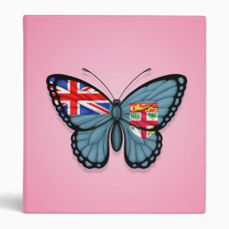 Fiji Butterfly Flag on Pink 3 Ring Binder