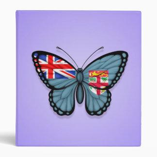 Fiji Butterfly Flag on Purple 3 Ring Binders