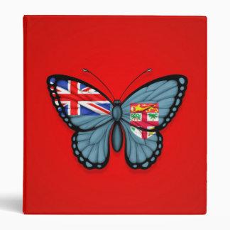 Fiji Butterfly Flag on Red Vinyl Binders