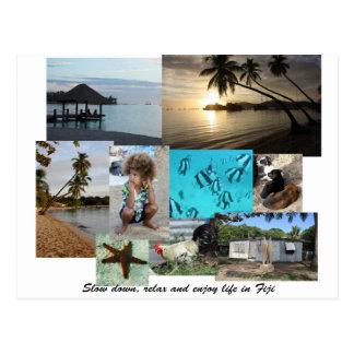 Fiji Collage from Malolo Leilei Island Postcard