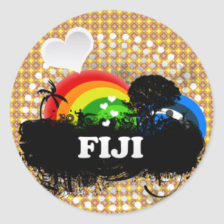 Fiji con sabor a fruta linda pegatina redonda