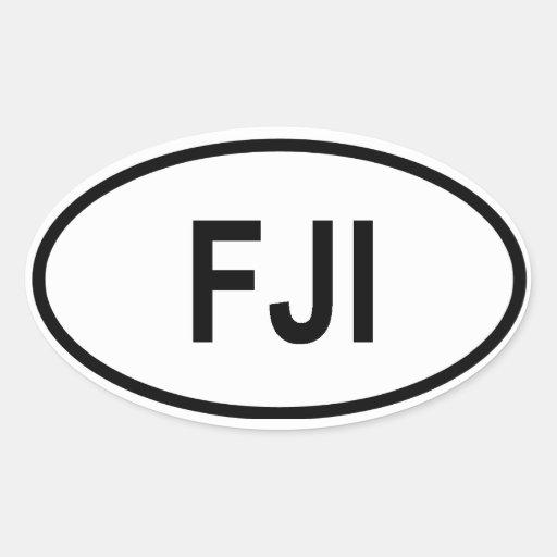 """Fiji """"FJI """" Pegatina Ovalada"""