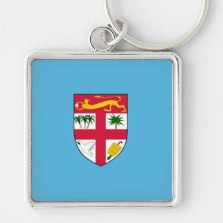 Fiji Flag FJ Silver-Colored Square Keychain