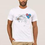Fiji Flag Heart and Map T-Shirt