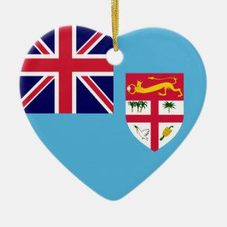 Fiji Flag Heart Double-Sided Heart Ceramic Christmas Ornament