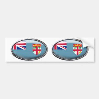 Fiji Flag in Glass Oval Bumper Sticker