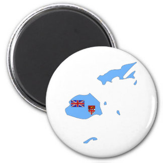 Fiji Flag Map full size 2 Inch Round Magnet