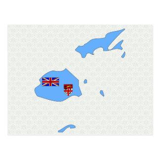 Fiji Flag Map full size Postcard