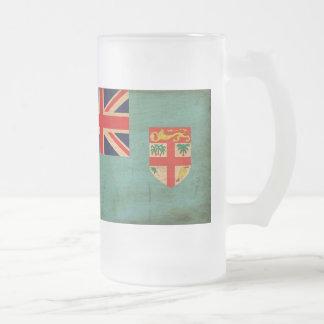Fiji Flag 16 Oz Frosted Glass Beer Mug