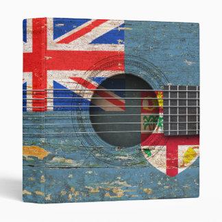 Fiji Flag on Old Acoustic Guitar 3 Ring Binders