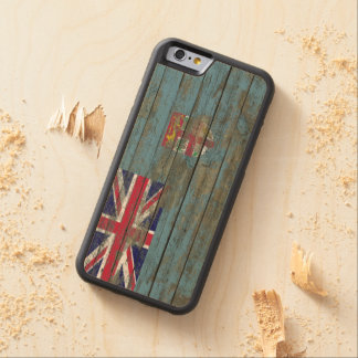 Fiji Flag on Rough Wood Boards Effect Carved Maple iPhone 6 Bumper Case