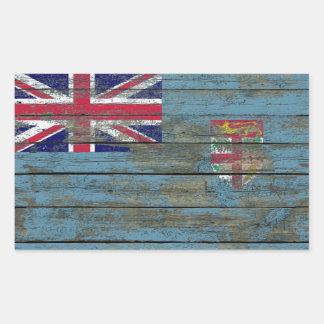 Fiji Flag on Rough Wood Boards Effect Rectangular Sticker