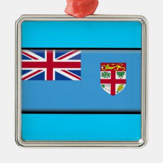Fiji Flag Square Metal Christmas Ornament