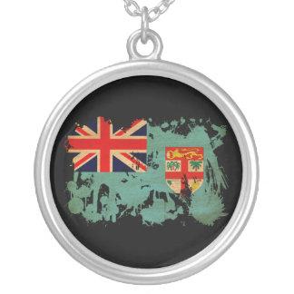 Fiji Flag Round Pendant Necklace