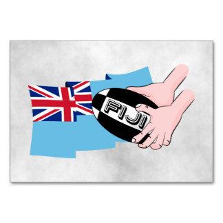 Fiji Flag Rugby Ball Pass Cartoon Hands Card