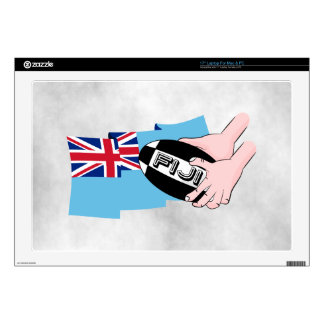 "Fiji Flag Rugby Ball Pass Cartoon Hands Decals For 17"" Laptops"