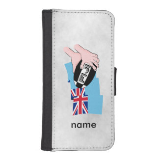 Fiji Flag Rugby Ball Pass Cartoon Hands iPhone SE/5/5s Wallet Case