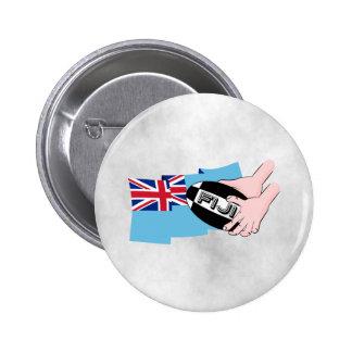 Fiji Flag Rugby Ball Pass Cartoon Hands Pinback Button