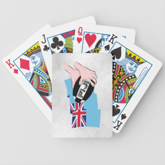 Fiji Flag Rugby Ball Pass Cartoon Hands Bicycle Playing Cards
