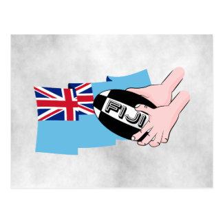 Fiji Flag Rugby Ball Pass Cartoon Hands Postcard