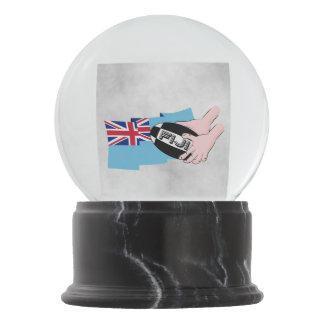 Fiji Flag Rugby Ball Pass Cartoon Hands Snow Globe